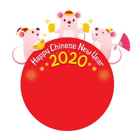 Three Rats On Red Circle Frame Of Happy Chinese New Year 2020, Year Of The Rat, Traditional, Celebration, China, Culture Archivio Fotografico - 134352398