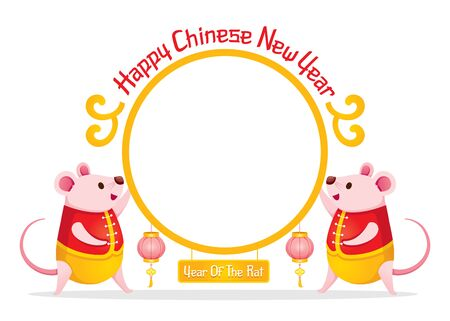 Rats In Chinese Costume On Circle Frame Of Happy Chinese New Year 2020, Year Of The Rat, Traditional, Celebration, China, Culture Archivio Fotografico - 134352402