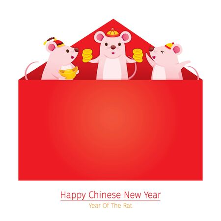 Happy Rats Popping From Big Red Envelope, Happy Chinese New Year 2020, Year Of The Rat, Traditional, Celebration, China, Culture Archivio Fotografico - 134352404