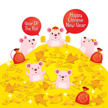 Happy Rats On Pile Of Wealth, Happy Chinese New Year 2020, Year Of The Rat, Traditional, Celebration, China, Culture Archivio Fotografico - 134352406