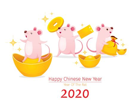 Rats Fun With Wealth, Gold, Happy Chinese New Year 2020, Year Of The Rat, Traditional, Celebration, China, Culture Archivio Fotografico - 134352407