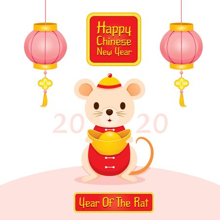 Rat In Chinese Clothing Holding Golds In Hands, Happy Chinese New Year 2020, Year Of The Rat, Traditional, Celebration, China, Culture Archivio Fotografico - 134352405