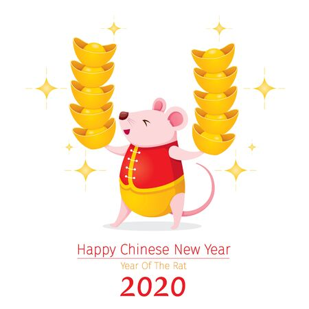 Rat In Chinese Clothing Holding Many Golds In Hands, Happy Chinese New Year 2020, Year Of The Rat, Traditional, Celebration, China, Culture Archivio Fotografico - 134352403