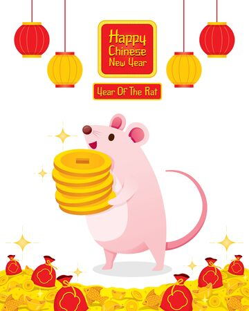 Rat Holding Many Golds Coins In Hands, Happy Chinese New Year 2020, Year Of The Rat, Traditional, Celebration, China, Culture Archivio Fotografico - 134352408