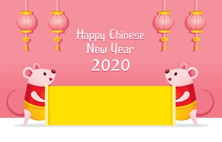 Two Rats In Chinese Clothing Holding Yellow Empty Sign On Pink Banner, Happy Chinese New Year 2020, Year Of The Rat, Traditional, Celebration, China, Culture Archivio Fotografico - 134352410