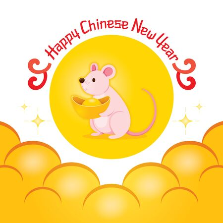 Rat Holding Gold Sitting In Yellow Circle Look Like Moon On The Sky, Happy Chinese New Year 2020, Year Of The Rat, Traditional, Celebration, China, Culture Illustration