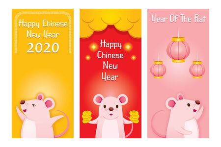 Rats In Three Banners Decoration Set, Happy Chinese New Year 2020, Year Of The Rat, Traditional, Celebration, China, Culture Archivio Fotografico - 134352414