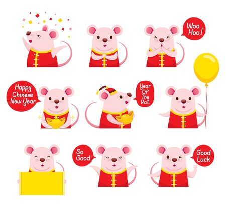Rats Emoticons Icons Set, Happy, Happy Chinese New Year 2020, Year Of The Rat, Traditional, Celebration, China, Culture Archivio Fotografico - 134352413