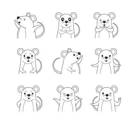 Rats Emoticons Outline Icons Set, Year Of The Rat, Zodiac, Traditional, Celebration, China, Culture Archivio Fotografico - 134352412