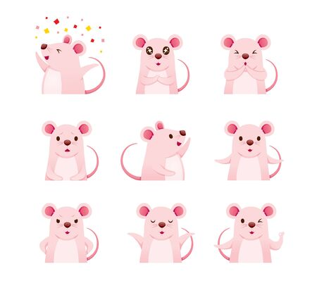 Rats Emoticons Icons Set, Year Of The Rat, Zodiac, Traditional, Celebration, China, Culture Archivio Fotografico - 134352416