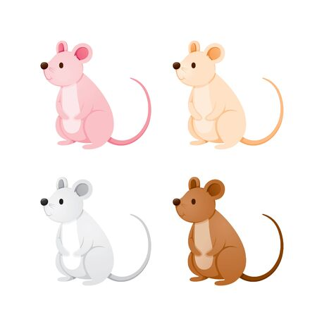 Rats In Different Colors Set, Year Of The Rat, Zodiac, Traditional, Celebration, China, Culture Archivio Fotografico - 134352415