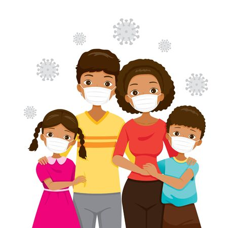 Dark Skin Family Wearing Face Masks For Prevent Coronavirus Disease, Covid-19 Virus and Pollutions, Health Protection, Healthcare, Covid, Respiratory, Safety, Protection, Outbreak, Pathogen