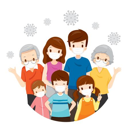 Family Wearing Face Masks For Prevent Coronavirus Disease, Covid-19 Virus and Pollutions, Health Protection, Healthcare, Covid, Respiratory, Safety, Protection, Outbreak, Pathogen
