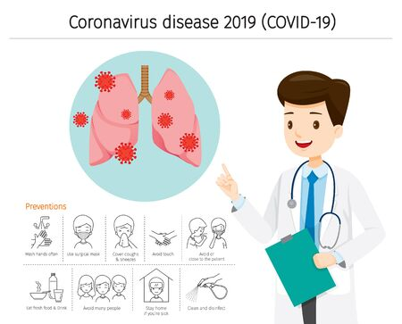 Doctor With Coronavirus Disease, Covid-19 Damage Lungs. Preventions Icons, Healthcare, Covid, Respiratory, Safety, Protection, Outbreak, Pathogen