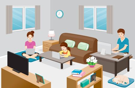 Work From Home, Learn From Home, Shopping At Home, Everyone In Family Stay At Home, Protection Themselves From Coronavirus Disease, Covid-19, Healthcare, Covid, Respiratory, Safety, Protection, Outbreak, Pathogen