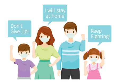 Family Wearing Surgical Masks, Holding Banners, Don't Give Up, Keep Fighting, I Will Stay At Home, Social Distancing, Respiratory, Safety, Protection, Outbreak, Pathogen Ilustración de vector