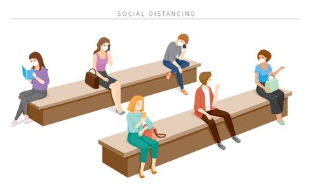 Social Distancing Concept, People Wearing Surgical Masks Sitting With Distance, Protection For Coronavirus Disease, Covid-19, Lifestyle, Leisure, Hobby