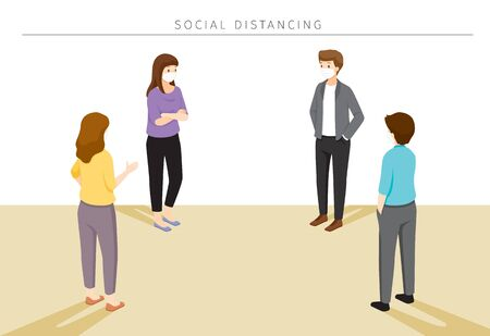 Social Distancing Concept, People Wearing Surgical Masks Standing With Distance, Protection For Coronavirus Disease, Covid-19, Lifestyle, Leisure, Hobby