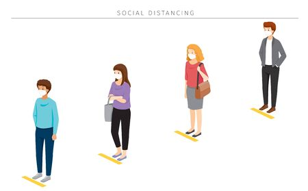 Social Distancing Concept, People Wearing Surgical Masks Standing With Distance In Queue, Protection For Coronavirus Disease, Covid-19, Lifestyle, Leisure, Hobby Ilustração
