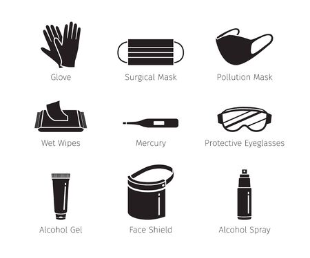 Set Of Protective Equipments For Coronavirus, Covid-19, Objects, Icons, Protection Oneself From Disease, Monochrome, Appliance, Accessories, Healthy