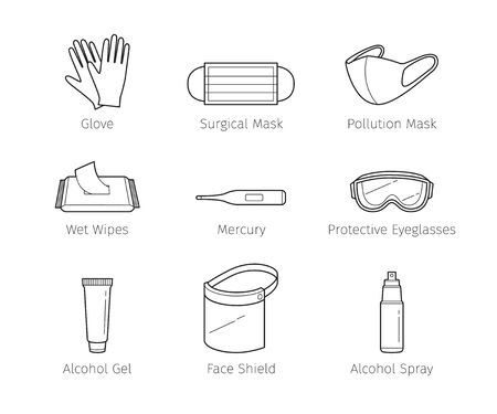 Set Of Protective Equipments For Coronavirus, Covid-19, Objects, Outline Icons, Protection Oneself From Disease, Appliance, Accessories, Healthy