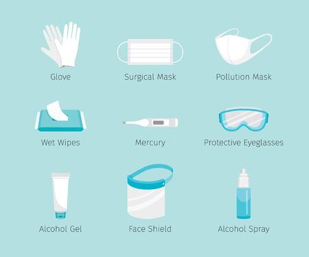 Set Of Protective Equipments For Coronavirus, Covid-19, Objects, Icons, Protection Oneself From Disease, Appliance, Accessories, Healthy