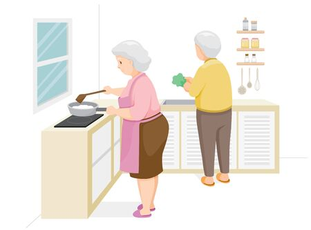Two Elderly Cooking Food Together, Stay Home, Stay Safe, Self Isolation, Protection Themselves From Coronavirus Disease, Clvid-19, Daily Routines Of Family, Lifestyle, Healthcare
