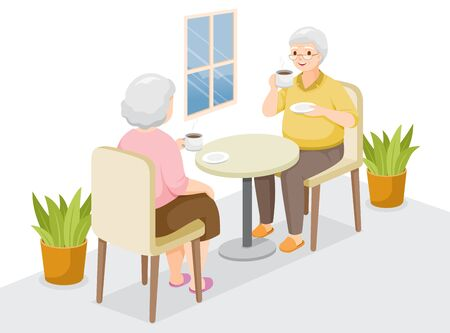 Two Elderly Sitting, Drinking Coffee Together, Stay Home, Stay Safe, Self Isolation, Protection Themselves From Coronavirus Disease, Clvid-19, Lifestyle, Healthcare