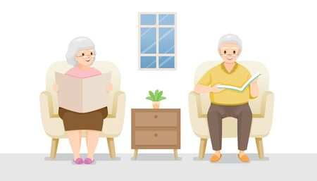 Two Elderly Sitting On Sofa Reading Book And Newspaper