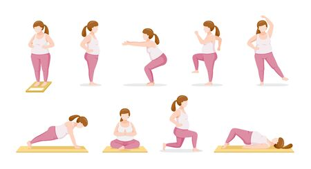 Set Of Fat Woman Exercising With Different Actions, Healthy, Physical Health, Lifestyle