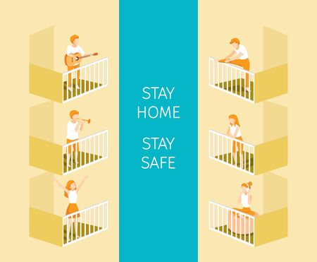 People On Terrace With Difference Activities, Exercising, Playing And Listening Music, Stay Home, Stay Safe, Self Isolation, Protection Themselves From Coronavirus Disease, Clvid-19, Lifestyle, Healthcare