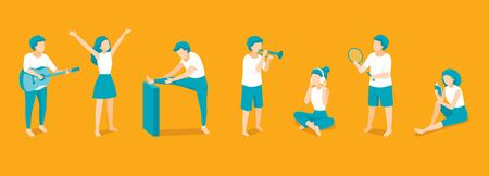 People With Difference Activities, Playing Sport, Reading Book, Exercising, Playing And Listening Music For Healthy, Lifestyle, Healthcare Ilustração