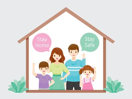 Family Stays Home, Stay Safe Fighting Against Coronavirus Disease, Covid-19, Self Isolation, Protection Themselves From Disease, Lifestyle, Quarantine, Activities Ilustração
