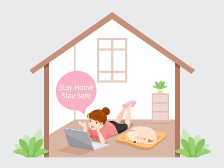 Girl Stays Home, Stay Safe Laying On Floor With Dog, Works From Home With Laptop, Learn, Shopping At Home, Self Isolation, Protection Themselves From Coronavirus Disease, Covid-19, Lifestyle, Quarantine, Activities