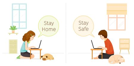 Man And Woman Stays Home, Stay Safe Sitting On Floor With Dog And Cat, Social Distancing, Works From Home With Laptop, Learn, Shopping At Home, Self Isolation, Protection Themselves From Coronavirus Disease, Covid-19, Lifestyle, Quarantine, Activities
