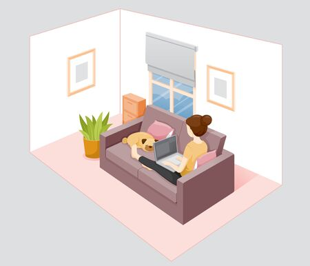 Woman Stays Home, Stay Safe, Works From Home With Laptop, Learn, Shopping At Home, Sitting On Sofa With Dog, Self Isolation Ilustração