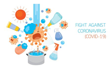 Coronavirus Cartoon Character Fight Against Different Disinfect Methods And Equipments, Protection From Coronavirus Disease, Covid-19, Healthcare, Respiratory, Safety, Outbreak, Pathogen Vetores