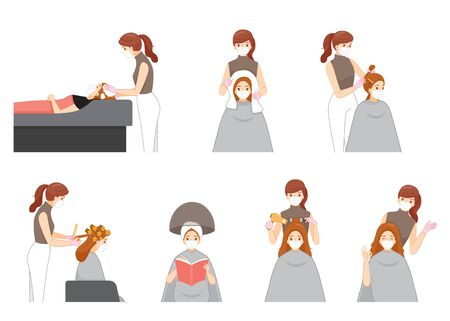 Set Of Female Hairdresser Wearing Surgical Mask Doing Hair For Customer In Hair Salon, New Normal, Beauty, Shop, Healthcare
