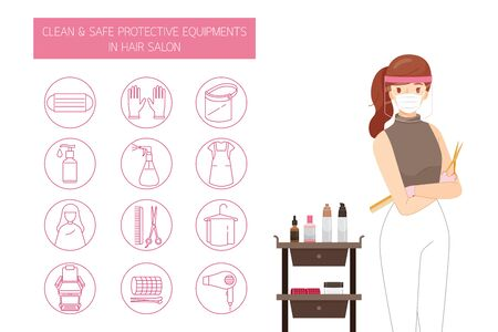 Female Hairdresser Wearing Mask And Face Shield, With Clean And Safe Protective Equipments in Hair Salon, Outline Icons Set, New Normal, Beauty, Shop, Healthcare Ilustração