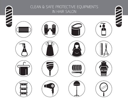 Clean And Safe Protective Equipments in Hair Salon, Monochrome Objects, Icons Set, New Normal, Beauty, Shop, Healthcare