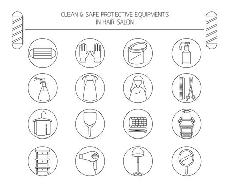 Clean And Safe Protective Equipments in Hair Salon, Outline Objects, Icons Set, New Normal, Beauty, Shop, Healthcare
