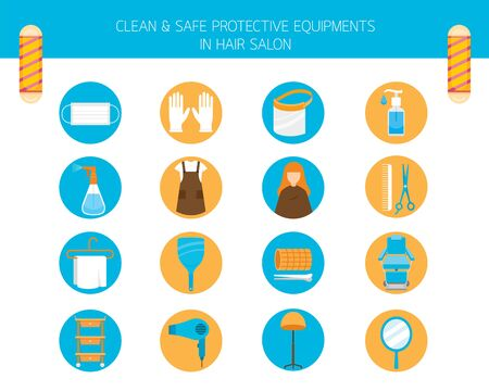 Clean And Safe Protective Equipments in Hair Salon, Objects, Icons Set, New Normal, Beauty, Shop, Healthcare