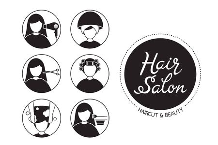 Hair Salon Sign And Icon Set Of Service, Monochrome, New Normal, Beauty, Shop, Healthcare