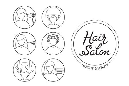 Hair Salon Sign And Icon Set Of Service, Outline, New Normal, Beauty, Shop, Healthcare