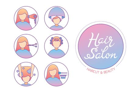 Hair Salon Sign And Icon Set Of Service, New Normal, Beauty, Shop, Healthcare