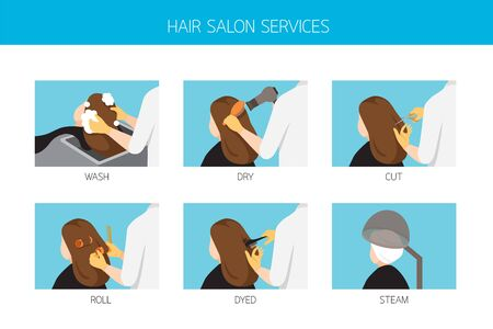 Woman With Services In Hair Salon, Wash, Dry, Cut, Roll, Dyed, Steam, New Normal, Beauty, Shop, Healthcare Illustration