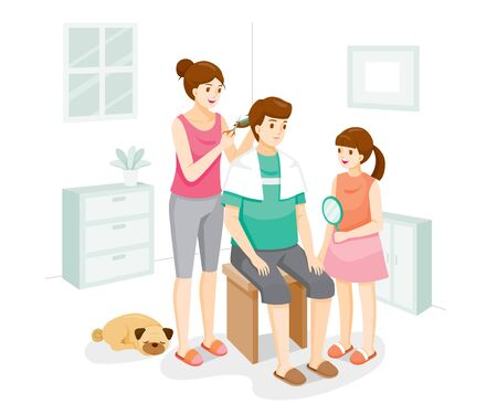 Wife Cutting Hair For Husband At Home, Family Stay Home Together, Father, Mother, Daughter And Dog, New Normal, Beauty, Shop, Healthcare