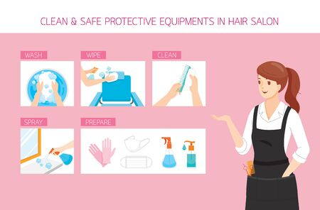 Female Hairdresser With Cleaning, Washing, Wiping, Preparing And Safe Equipments in Hair Salon, New Normal, Beauty, Shop, Healthcare