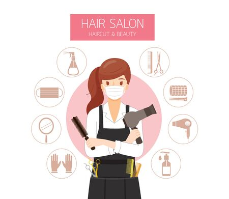 Female Hairdresser Wearing Surgical Mask With Hair Salon Equipments Icons, New Normal, Beauty, Shop, Healthcare Vettoriali