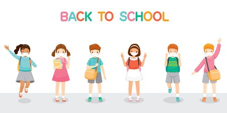 Children Wearing Surgical Mask Happy Back To School, Jumping, Cheerfully Together, Educational, Instruction, Sanitary, Healthcare, Safety Illustration